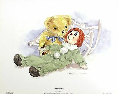 "Christine Groves ""Friend in Need"" Teddy Art PRINT New SIZE:43cm x 34cm  RARE"