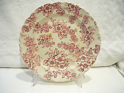 """Vintage Taylor, Smith, Taylor Red Flower Chintz Plate, Signed- 10 """""""