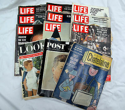 Vintage LIFE LOOK POST CHATELAINE Magazines 1957-1970 Lot JFK Space New York