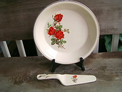 "UNIVERSAL CAMBRIDGE OVENPROOF PIE PLATE & SERVER ""ROSE"" FLORAL DESIGN"