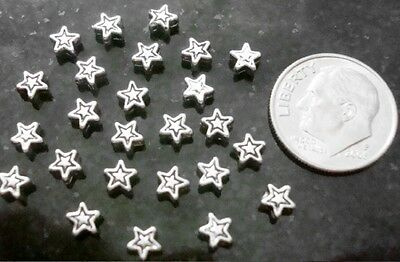25 Antique Silver plated 4mm star shaped spacer beads no lead or nickel FPB021