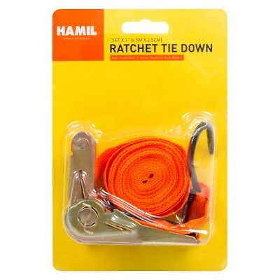 """Ratchet Tie Down Straps 15' X 1"""" Quick Release Coated Hooks Secure Cargo"""
