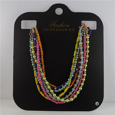 50X Black Paper Statement Necklace Choker Display Hanging Card Jewelry Packaging