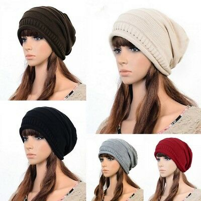 Women  Men Winter Plicate Baggy Beanie Knitted Crochet Ski Hat Slouch Skull Cap