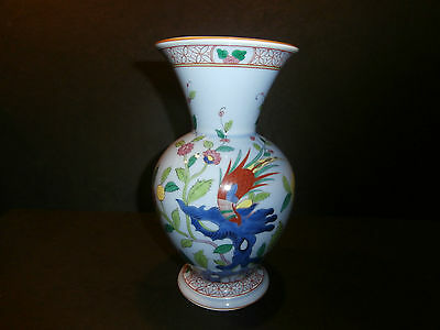"RARE Herend Red Phoenix Bird of Paradise Song Pattern on Blue Vase 7023 8"" High"