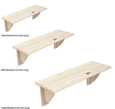 Natural Wood Wooden Shelf Storage Unit Stand Kit & Fittings Wall Mounted Shelves