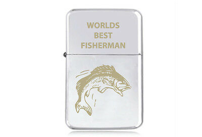 ★STAR★ FISHING engraved LIGHTER silver gold black WORLDS BEST FISHERMAN net line