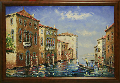 Venice Canal River Houses Gondola Boat Gondolier Europe City FRAMED OIL PAINTING