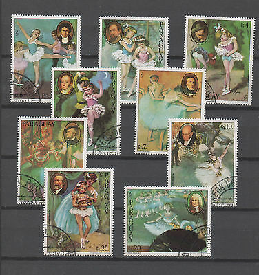 Paraguay stamp set Used - paintings ART music Ballet 0226
