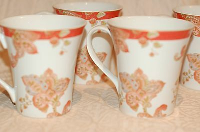 NEW 222 Fifth NORAH CORAL set of 4 cups white/coral paisley
