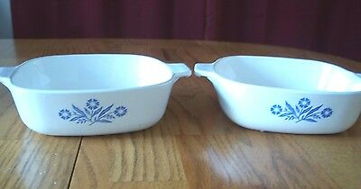 Vintage Corning Ware Cornflower Two  1 Qt. Baking/Cooking Dishes       - 534