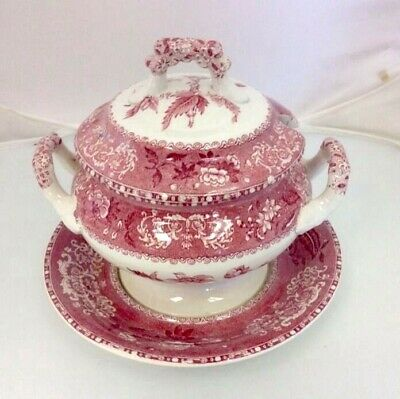 """Rare Spode's Copeland """"camilla""""old Stamp Floral Red White Covered Tureen"""