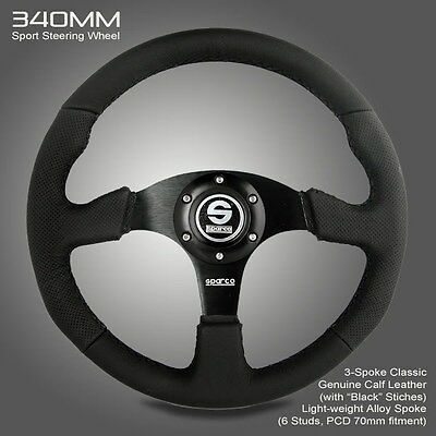 BRAND NEW 340MM Sparco Genuine Leather Sport Racing Steering Wheel w Horn