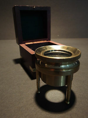 Antique Style Brass Desk Map or Chart Glass Magnifying Lens w Box