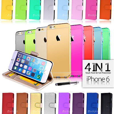 """Wallet & Gel 4in1 Accessory Bundle Kit Case Cover For Apple iPhone 6 4.7"""""""