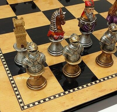 """MEDIEVAL TIMES CRUSADES BUSTS PAINTED Chess Set Walnut & Maple Finish BD 18"""""""