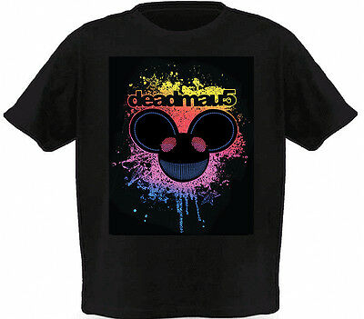 LED Sound Activated EL T shirt/light up shirt with mixes a silk screen - 102