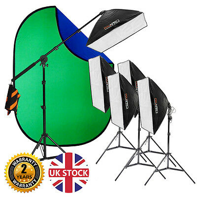 Continuous Chromakey Green Screen Photo Video Light Kit Easy Interview 2625W