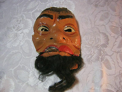 Old Halloween Man with Beard Scary Paper Mask Vintage
