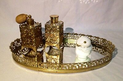 Vintage Gold Filigree Vanity Dresser Tray & Perfume Bottles with Avon Snow Bird