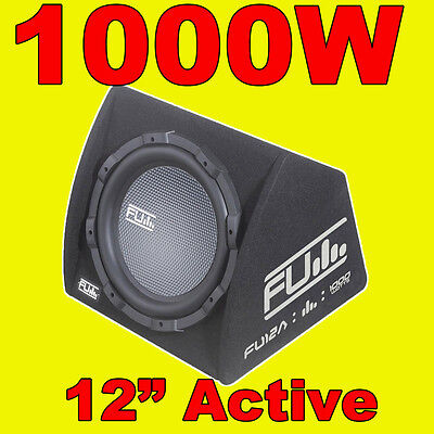 "FLI 12"" Active FU Car Sub Bass Box Subwoofer + Amplifier Built-in Amp 1000W"