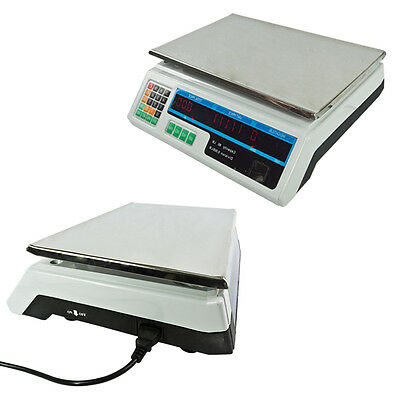 60lb Digital Electronic Scale Price Deli Food Produce Counting Store WHITE