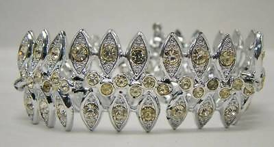 Sarah Coventry Signed Vintage Panel Bracelet Silver Tone Clear Rhinestone Accent