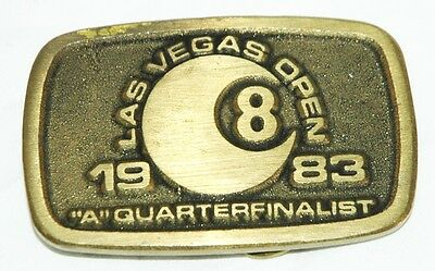 Vintage Solid Brass 1983 Las Vegas A Quarter 8 Ball Billiards Belt Buckle Pool