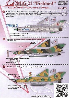 Print Scale Decals 1/72 MIKOYAN MiG-21 FISHBED Russian Fighter