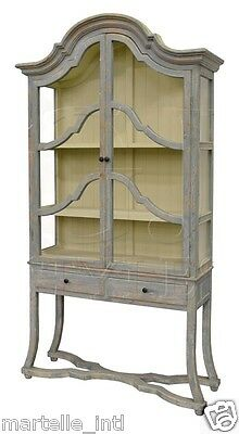 Bookcase Cabinet French Country in Wash Blue Finish Handmade New Free shipping