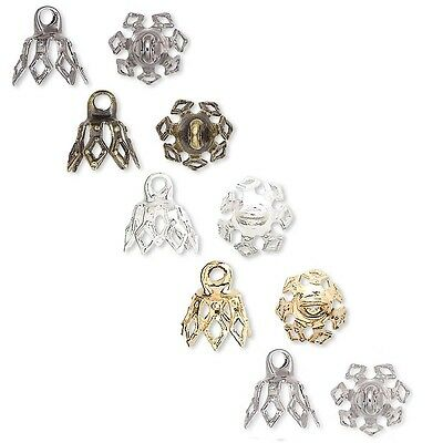 10 Bell Bead End Charm Caps with Loop & 7 Filigree Prong Legs Plated Brass Metal