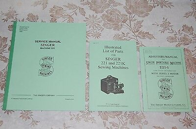 Complete Library Service Manuals Singer Featherweight 221 & 221K Sewing Machines