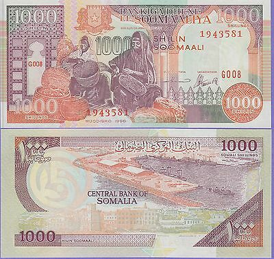 Somalia 1000 Shillings Banknote 1996 Uncirculated Condition Cat#37-B-3581