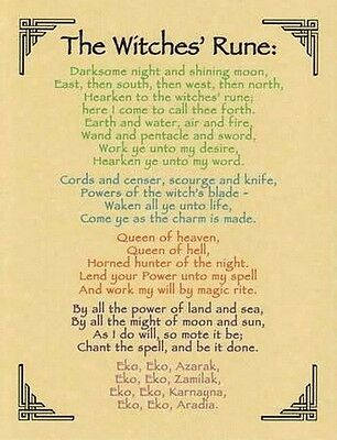 THE WITCHES' RUNE POSTER A4 SIZE Wicca Pagan Witch Goth BOOK OF SHADOWS