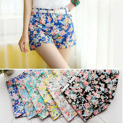 Fashion Women High Elastic Blooming Flowers Floral Print Mini Short Pants