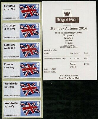 AUTUMN STAMPEX 2014 UNDATED UK UNION FLAG COLL SET/6 EX A3,B1 1stDAY POST & GO
