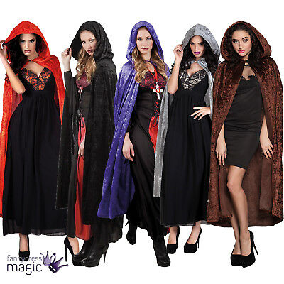 Deluxe Adult Long Velvet Velour Hooded Cape Cloak Coat Fancy Dress Costume 170cm