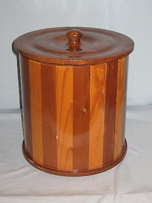 Vintage Signed 1978 Handcrafted Solid Wood Ice Bucket & Lid #MS14