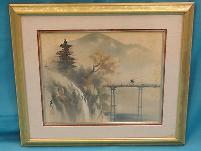 ANTIQUE SIGNED19c CHINESE LANDSCAPE PAINTING ON SILK  村书法合璧 立轴 设色水墨絲