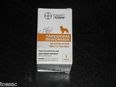 Bayer Expert Care Tapeworm DeWormer for Dogs 5 Praziquantel Tablets Exp 1-2018