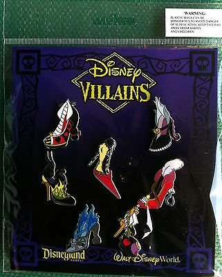 Disney Trading Pins Lot of Villians Shoes 7 pin Set On Cards #50B