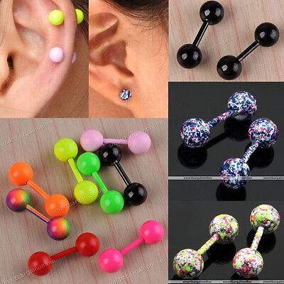 2x Stainless Steel Barbell Cartilage Helix Tragus Ear Studs Bar Earring Piercing