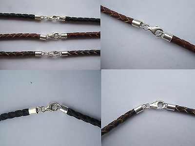 3mm Braided Genuine Leather Necklace/Bracelet 925 Sterling Silver Lobster Clasp