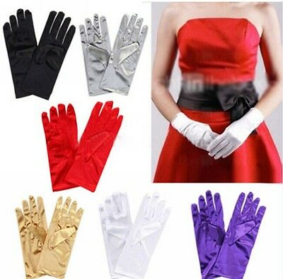 Ladies Short Satin Gloves Opera Party Costume Wedding Bridal Prom Womens Fancy
