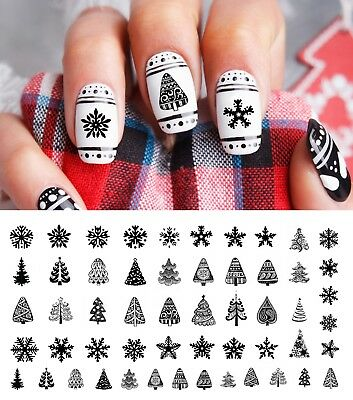 Christmas Nail Art Waterslide Decals Black Holiday  Set #2 - Salon Quality!