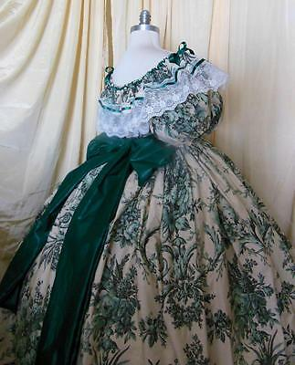 """Custom- floral/green/civil war Victorian""""Gone with the wind""""dress NEW-SALE!"""