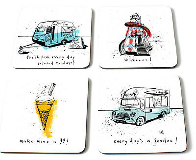 Ruth Jackson Summer Holiday Coasters Mats Set of 4 Caravan Ices Helter Skelter
