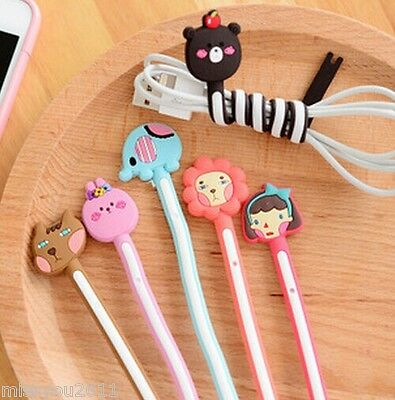 3x Mini Cartoon animals Earbud Earphone Computer Cord Cables Winder Wire Holder