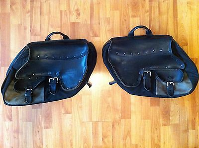 Harley Davidson Dyna OEM Convertible Leather and Canvas Saddlebags FXDS