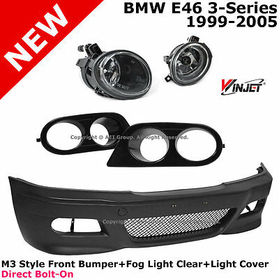 BMW E46 00-05 Coupe M3 Style P.P Front Bumper + Clear Fog Lights + Ham Covers